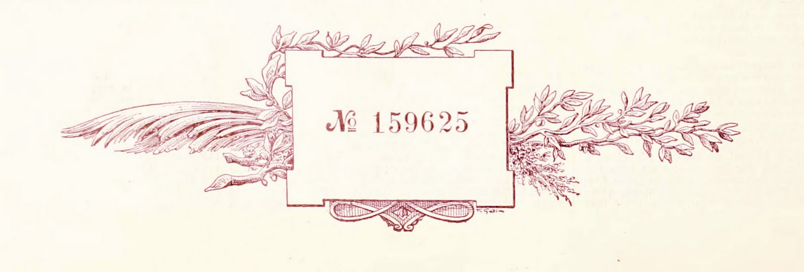 French decorative floral and numbers frame 1898