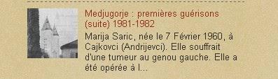 Medjugorje : premières guérisons (suite) 1981-1982