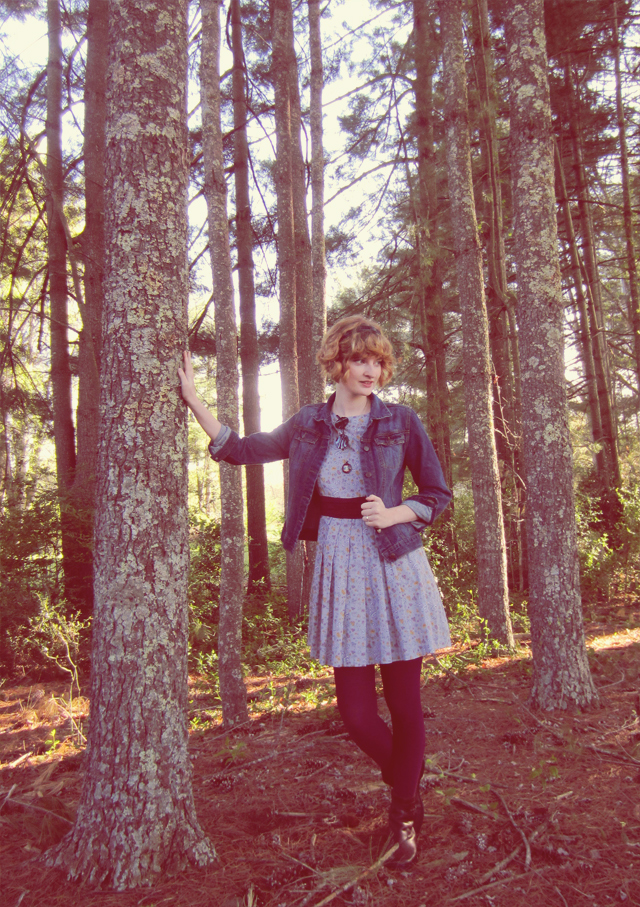 Thrifted denim jacket, purple tights, fair trade dress
