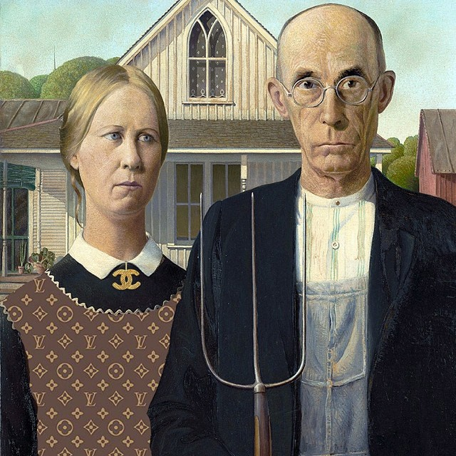 """Country Couture."" Original: American Gothic by Grant Wood. Added: Chanel pendant, LouisVuitton monogram"