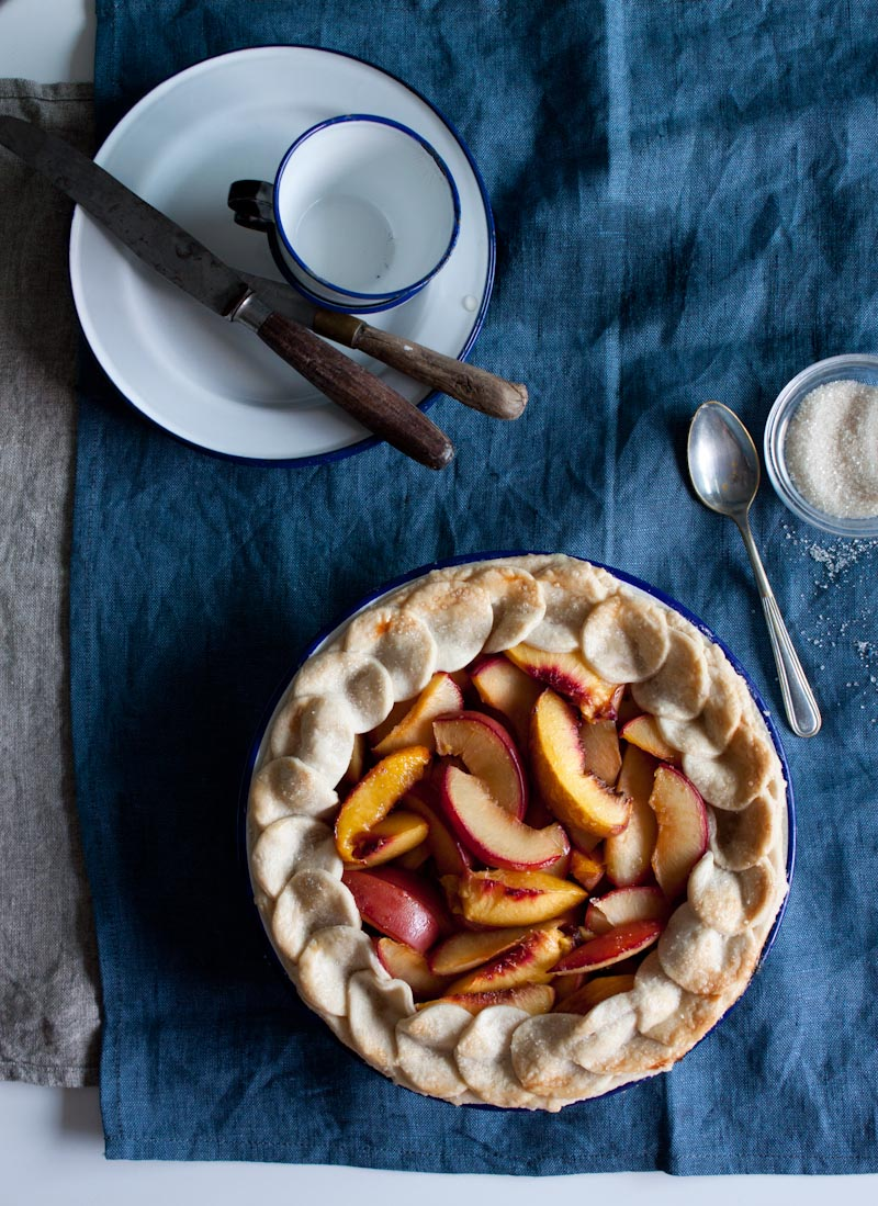 Plum and Peach Almond Pie - Little Upside Down Cake
