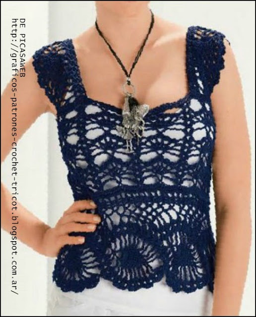 tejidos a crochet   ganchillo   patrones remera muy delicada tejida a