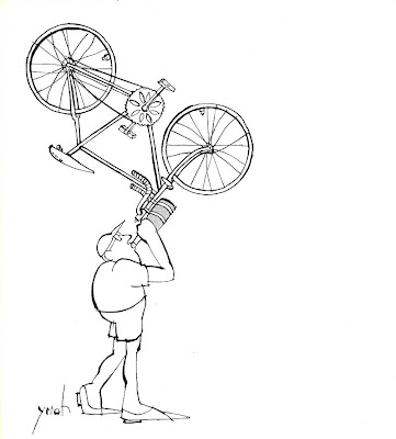 cyclist drinking cartoon