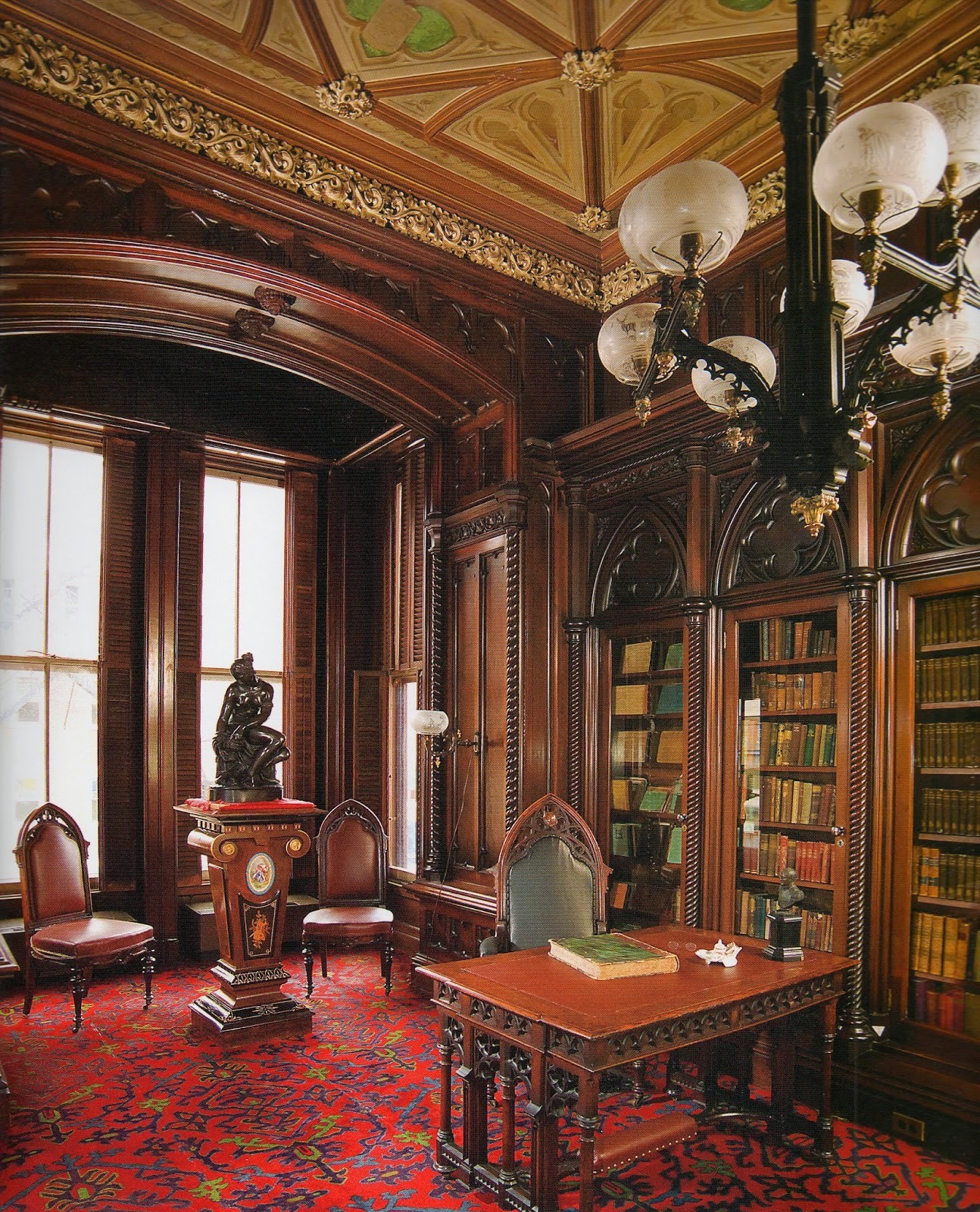 Gothic Revival Library In The Morse Libby Residence, Portland, Maine, Built  1858 1860. Photograph©Victoria Mansion, Portland, Maine.
