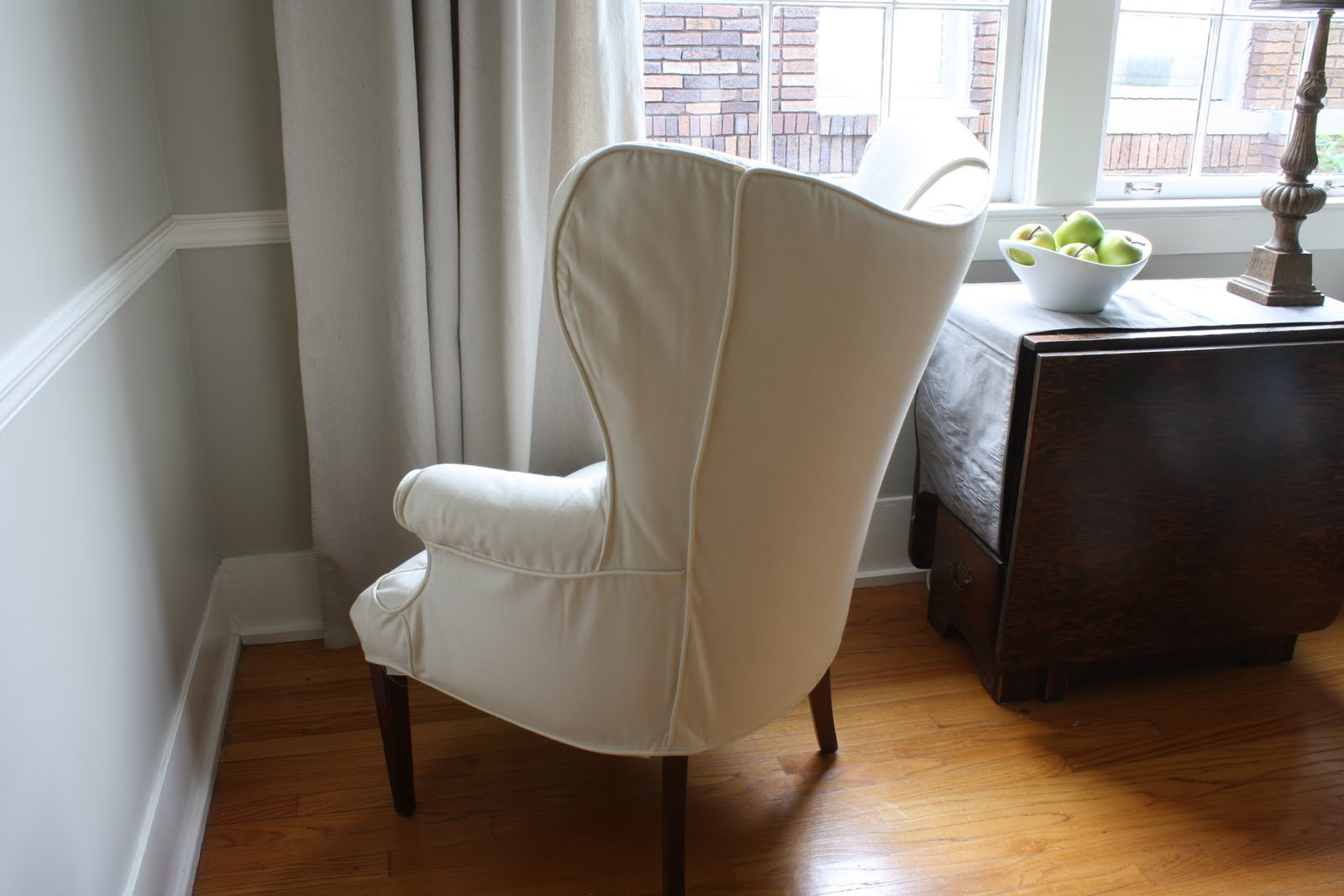 Dwell And Tell How To Add Padding Under Slipcovers Wing Chair Update