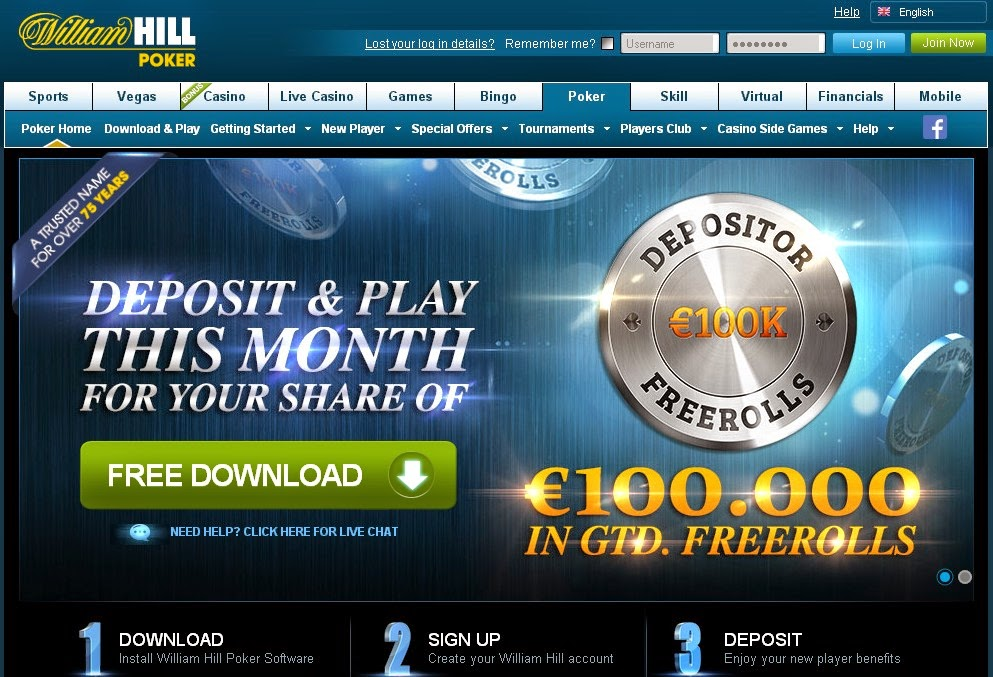 William Hill Poker Screen