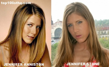 Jennifer anniston lookalike shows off in nylons 9