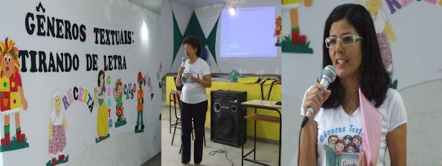 Oficina de Gêneros textuais no Colégio Municipal de Camacan. Secretaria Ilce Tourinho e a professora Simone.
