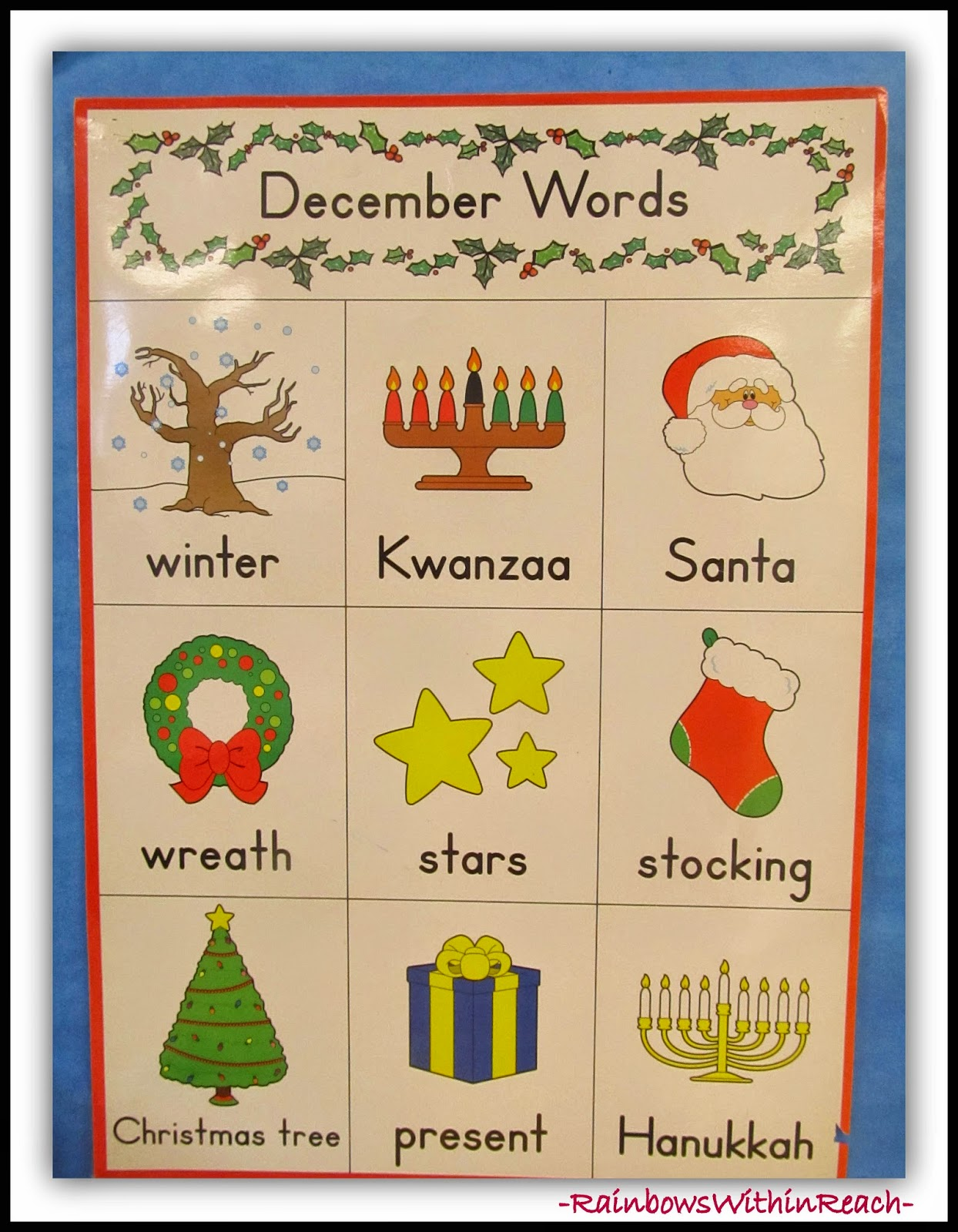 December Word Chart from Christmas Bulletin Board RoundUP at RainbowsWithinReach