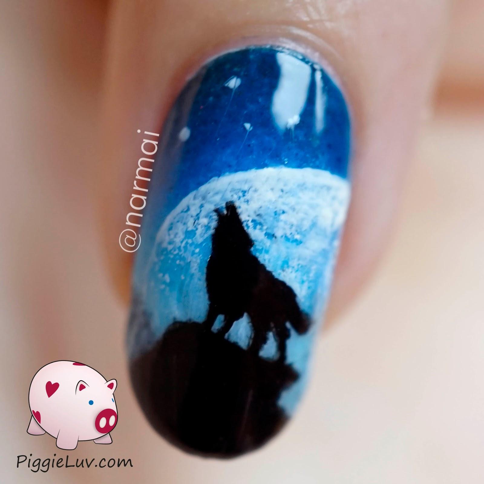 piggieluv galaxy wolf twin nails glow in the dark