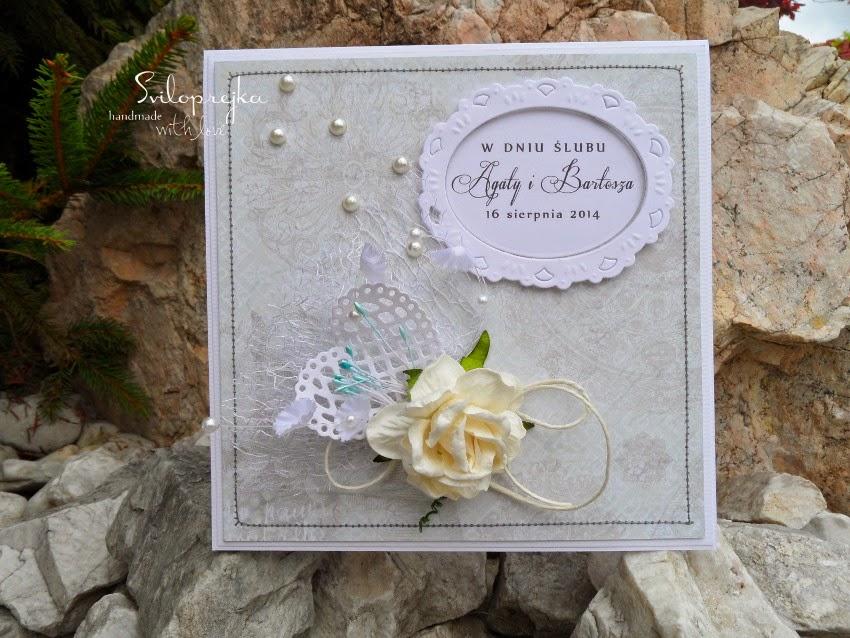 kartka ślubna z różą w pudełku