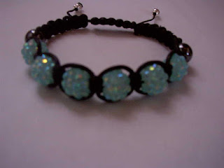 Blue Sky Rhinestone with hematite black beads shamballa bracelet