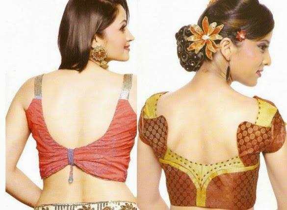 Zari Border Blouse Back Neck Designs 117