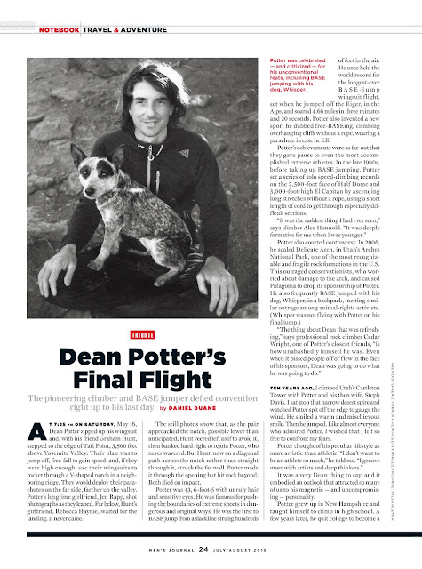 Men's Journal article on Dean Potter's final flight.