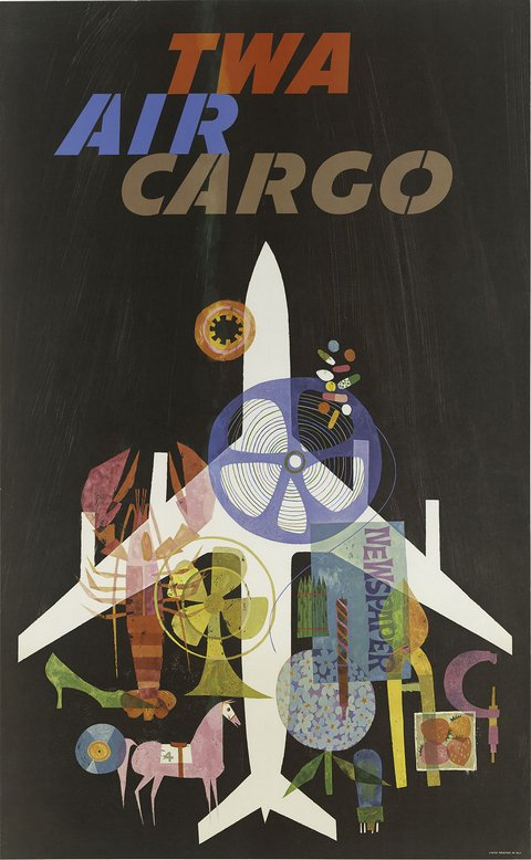 classic posters, free download, graphic design, retro prints, travel, travel posters, vintage, vintage posters, advertising, TWA Air Cargo - Vintage Advertising Travel Poster