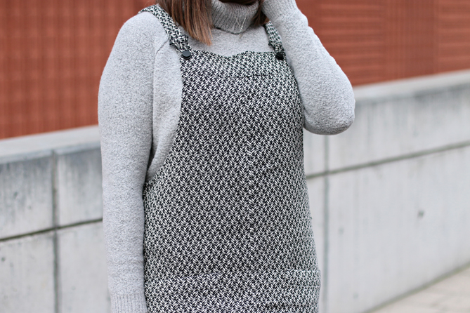 grey black mango pinafore dress