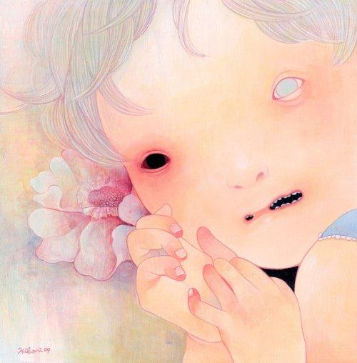 hikari shimoda pinturas crianças macabras demoníacas
