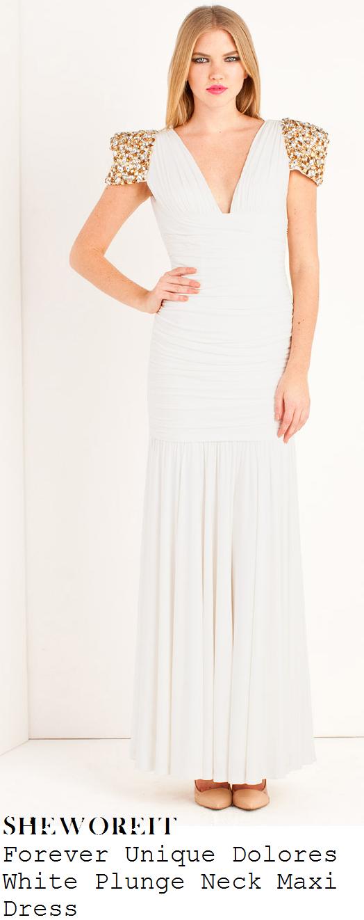 ashley-roberts-white-plunge-front-draped-gathered-embellished-short-sleeve-detail-maxi-dress-dancing-on-ice-80s-week