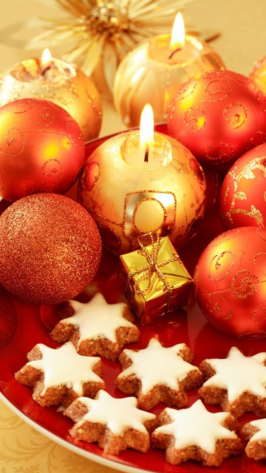 Christmas Decorations Candles Cookies Red  Galaxy Note HD Wallpaper