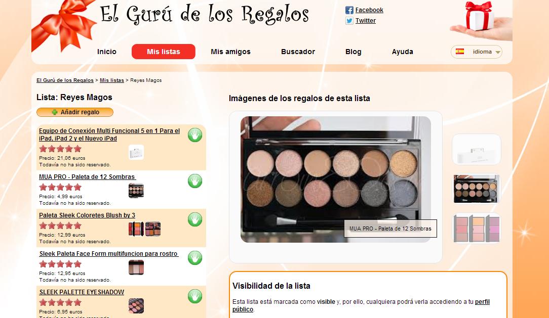 www.elgurudelosregalos.es, lista de regalos