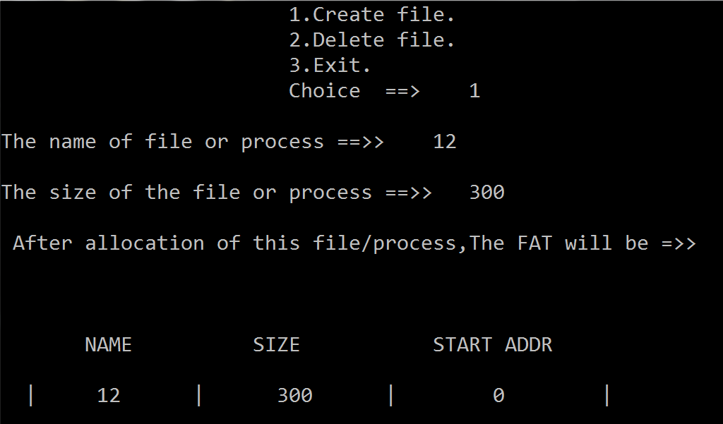 C code for File Allocation Table(FAT)