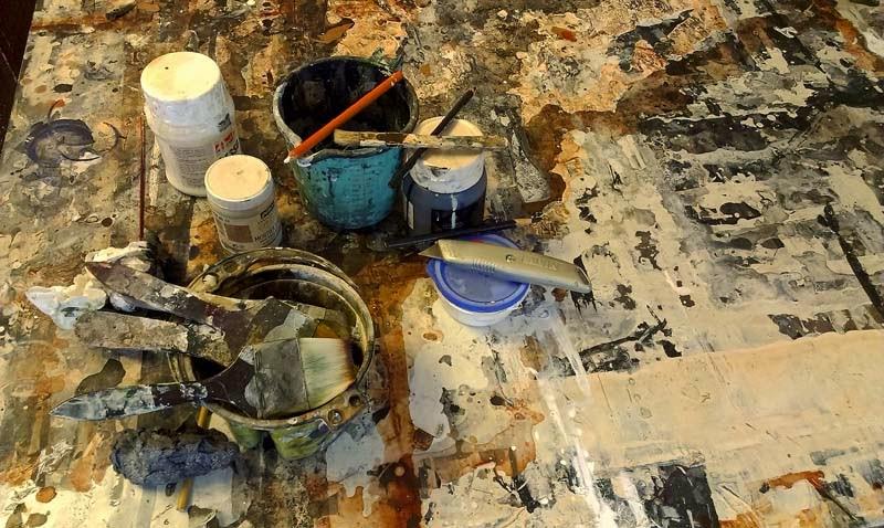 Artist's work table