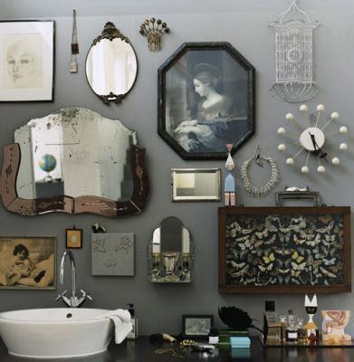 walls light gray bathroom walls mixing art and mirrors to make a wall