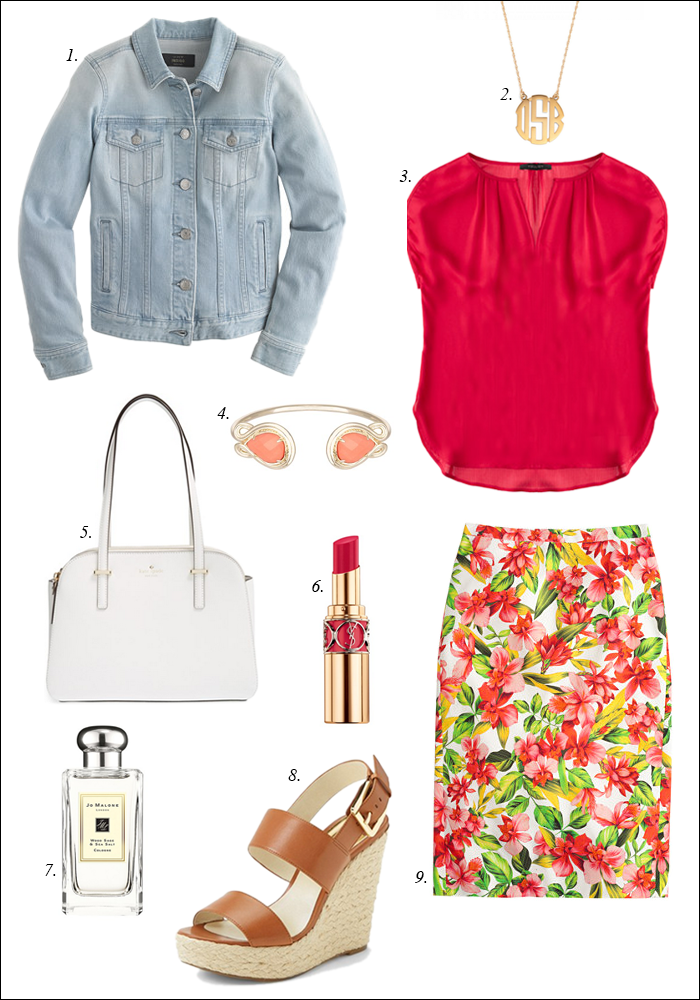 floral j. crew, monogram necklace, kate spade tote, summer style, kendra scott andy cuff