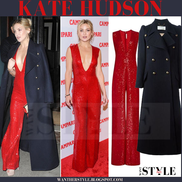 Kate Hudson in red sequin naeem khan jumpsuit and blue chloe coat what she wore red carpet