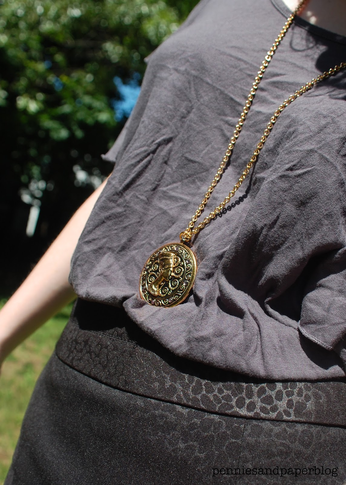 leopard print skirt Nefertiti necklace