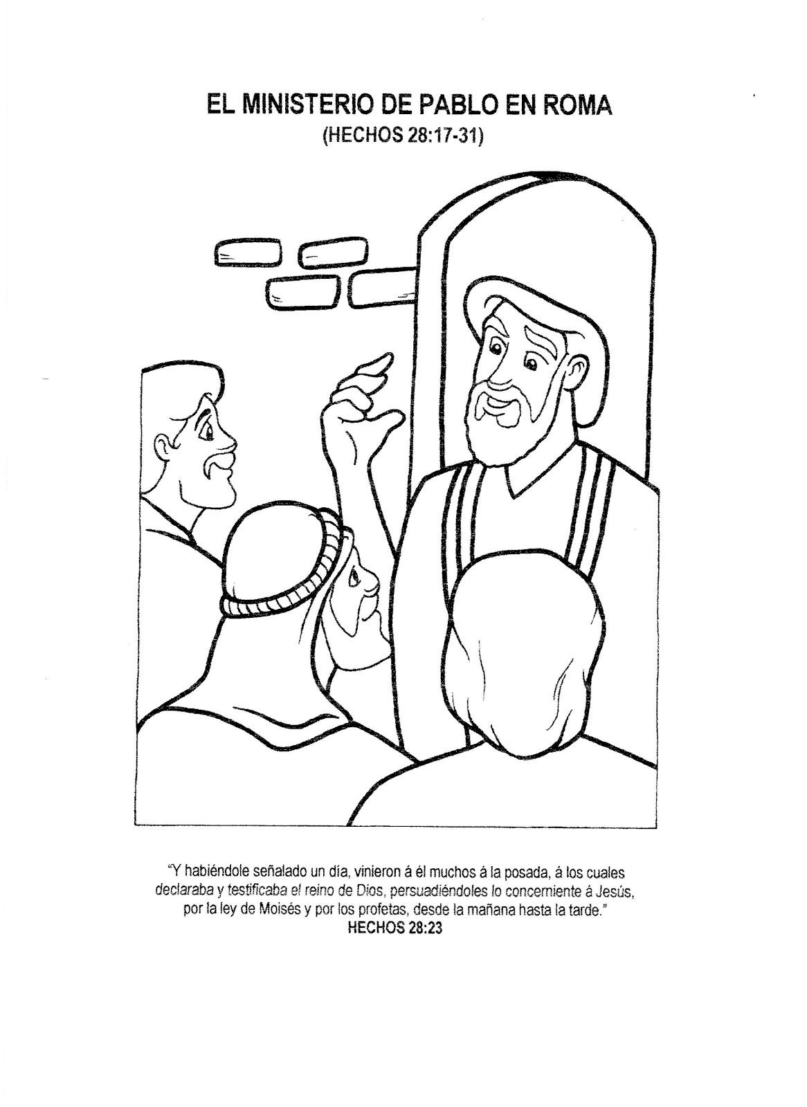El Ministerio de Pablo en Roma para colorear - Dibujos Cristianos ...