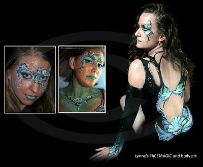 Mermaid body painting with shells, fish, gold and eye design. Mermaid face painting picture with palm tress and sea horse