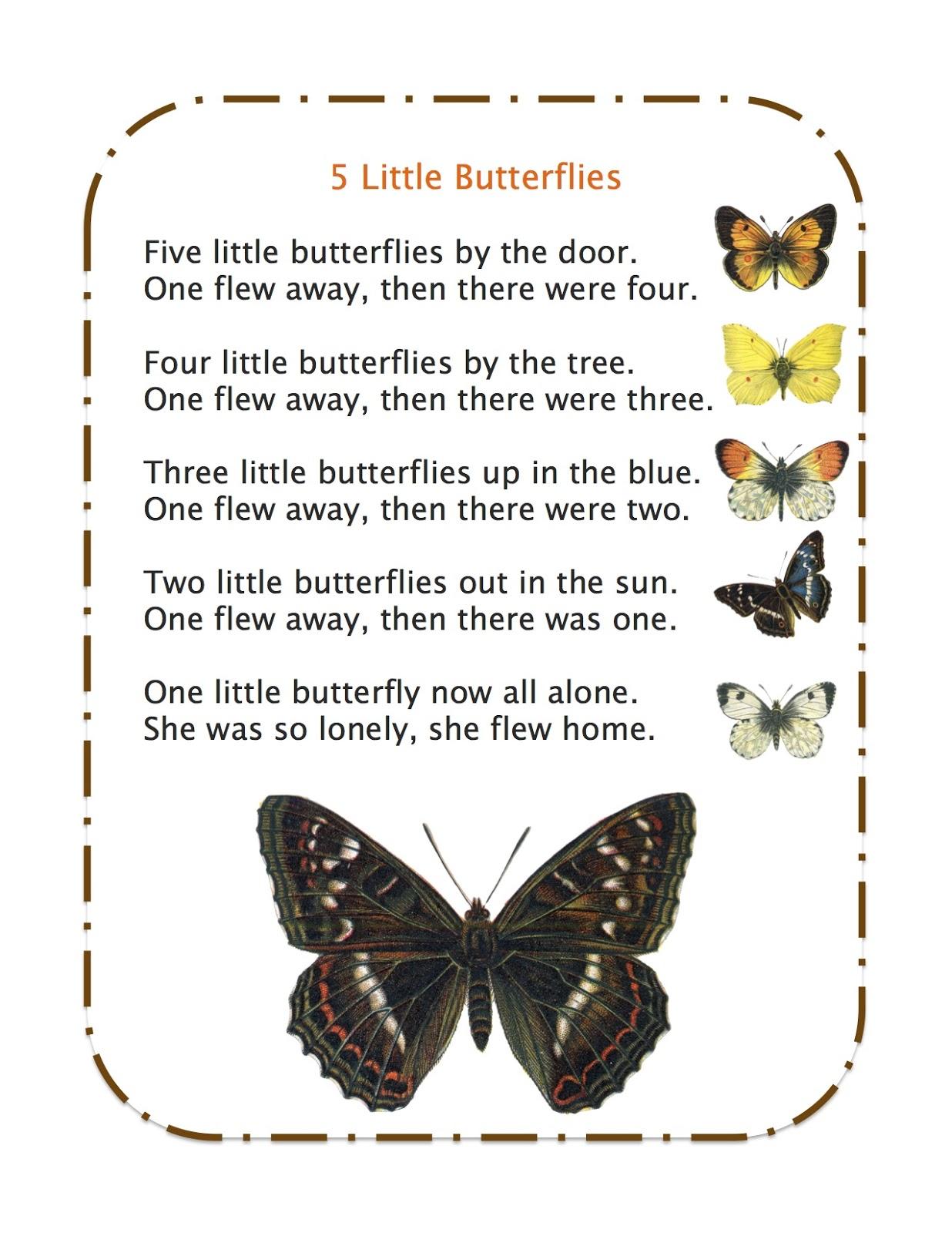 5 Little Butterflies Song And Poem Book Pinterest