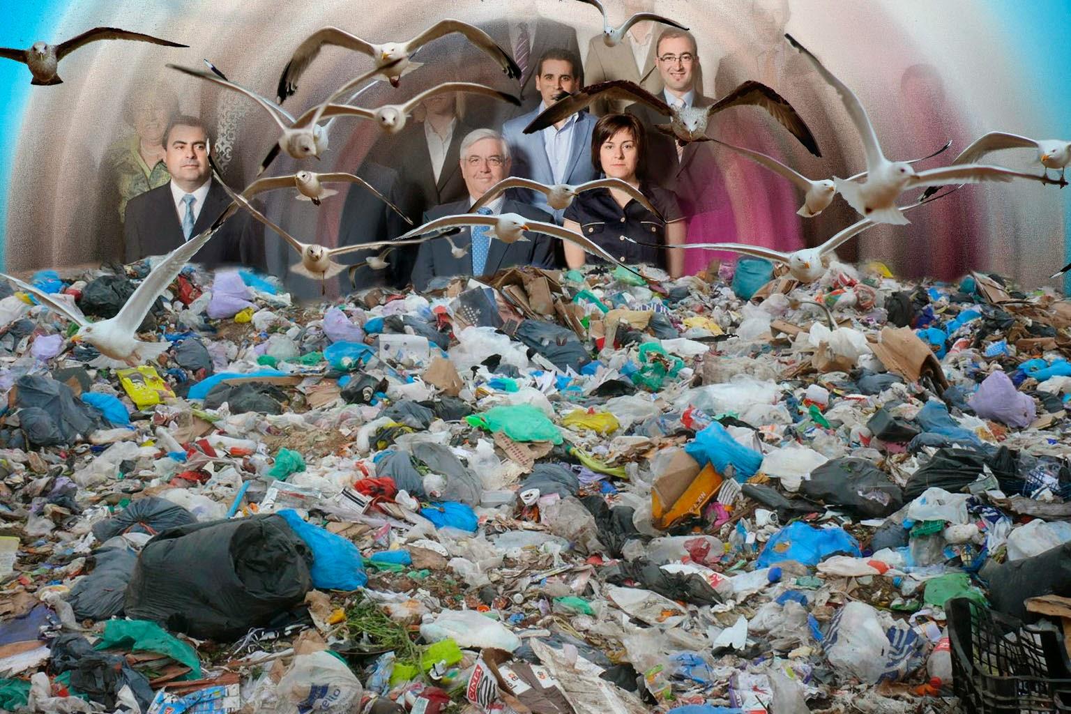 Gaviotas sobrevolando las basuras