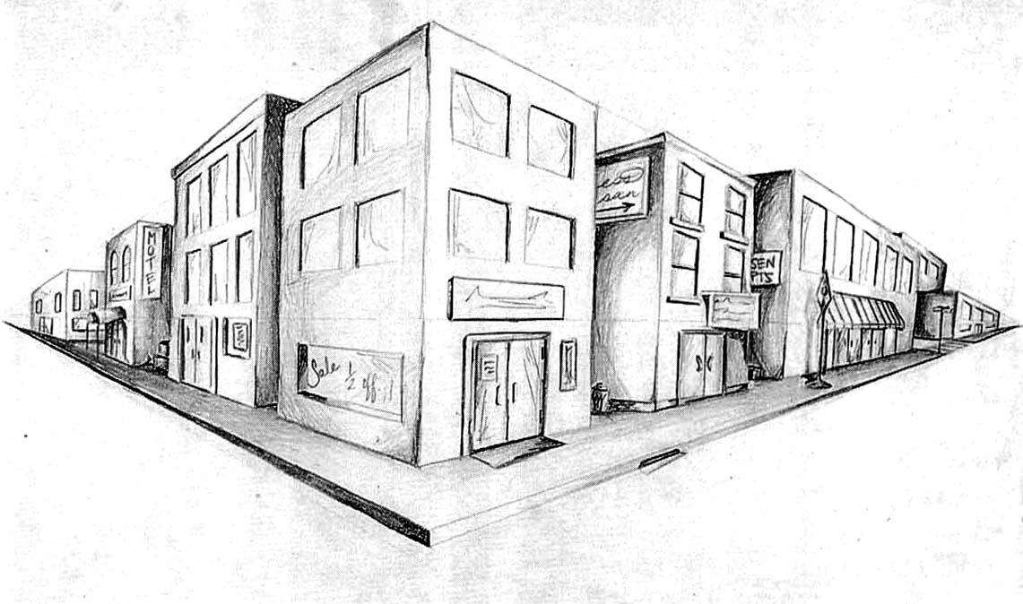 Unique Two Point Perspective Drawing