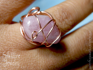 pink tourmaline, ring, wire, copper, silkwirejewelry