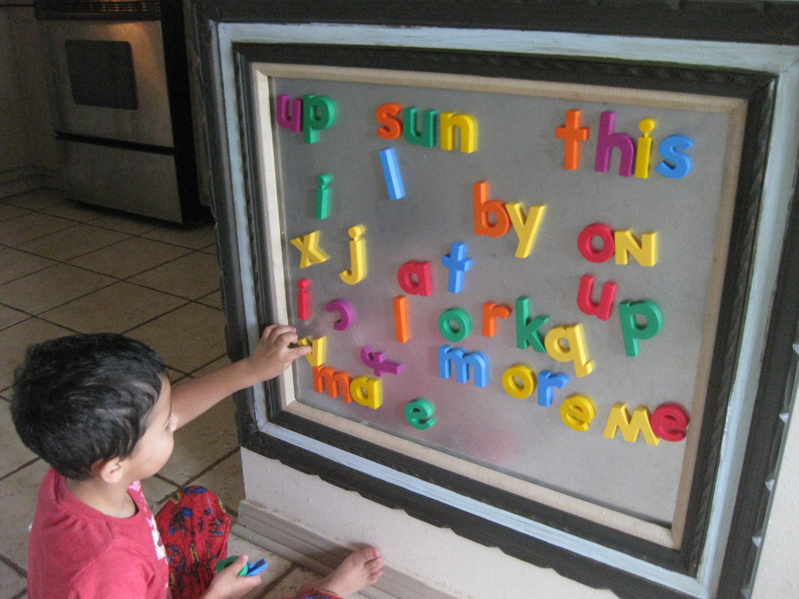 this is ideal for us as it helps tutor the kids on spelling and entertains the baby our fridge is stainless but not magnetic