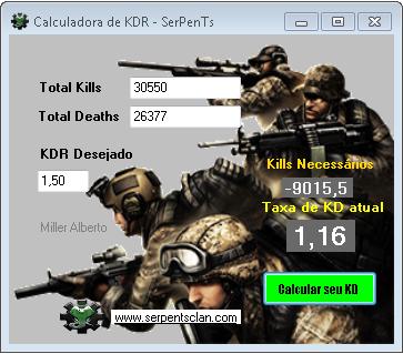 Calculadora de KDR SerPenTS - Jogos k/d