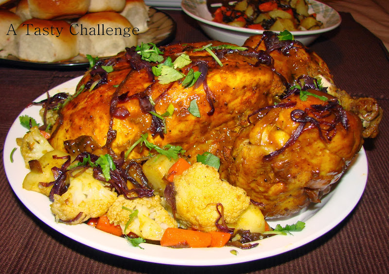 Stove top Whole Chicken with Vegetables and Caramelized Onion