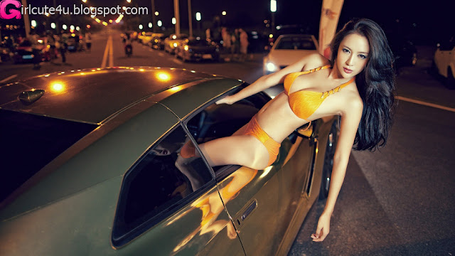 2 Liu Zaixi and car-very cute asian girl-girlcute4u.blogspot.com