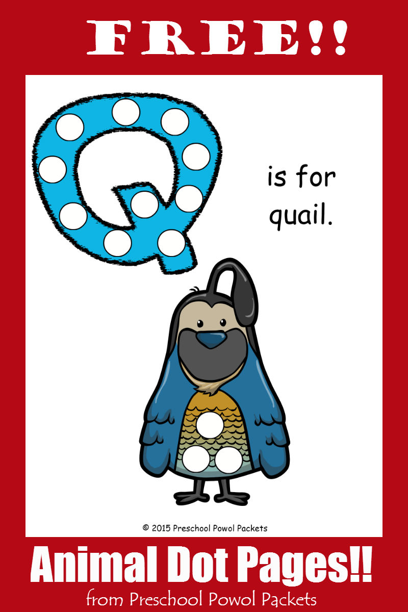 image relating to Letter Q Printable identified as No cost Letter Q Animal Alphabet Dots Printable! Preschool