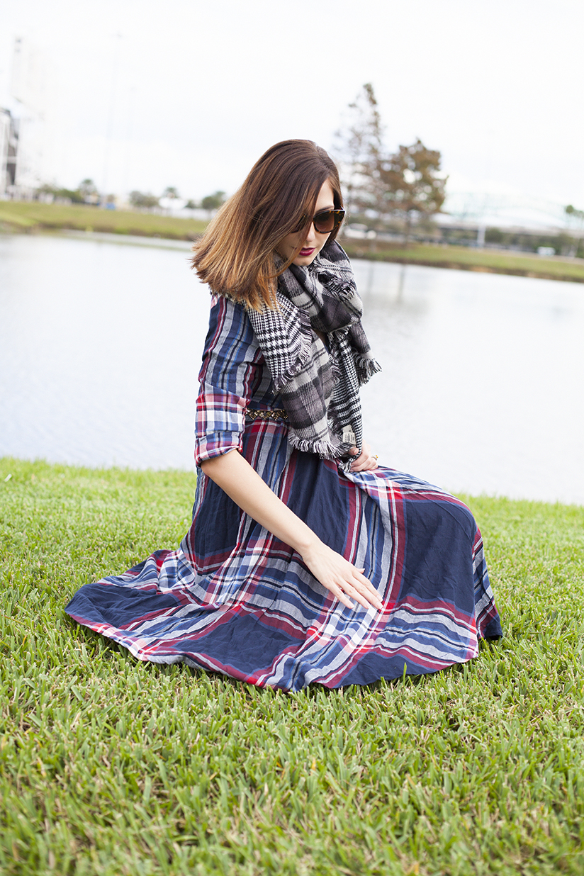 Amy West in plaid dress from Anthropologie and Versace dress