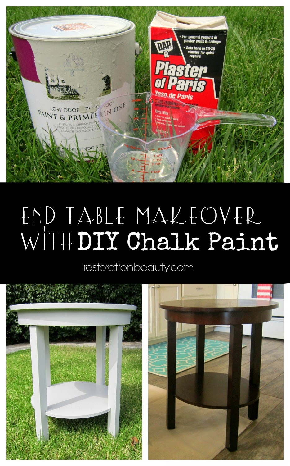 Restoration Beauty End Table Makeover Using Diy Chalk Paint