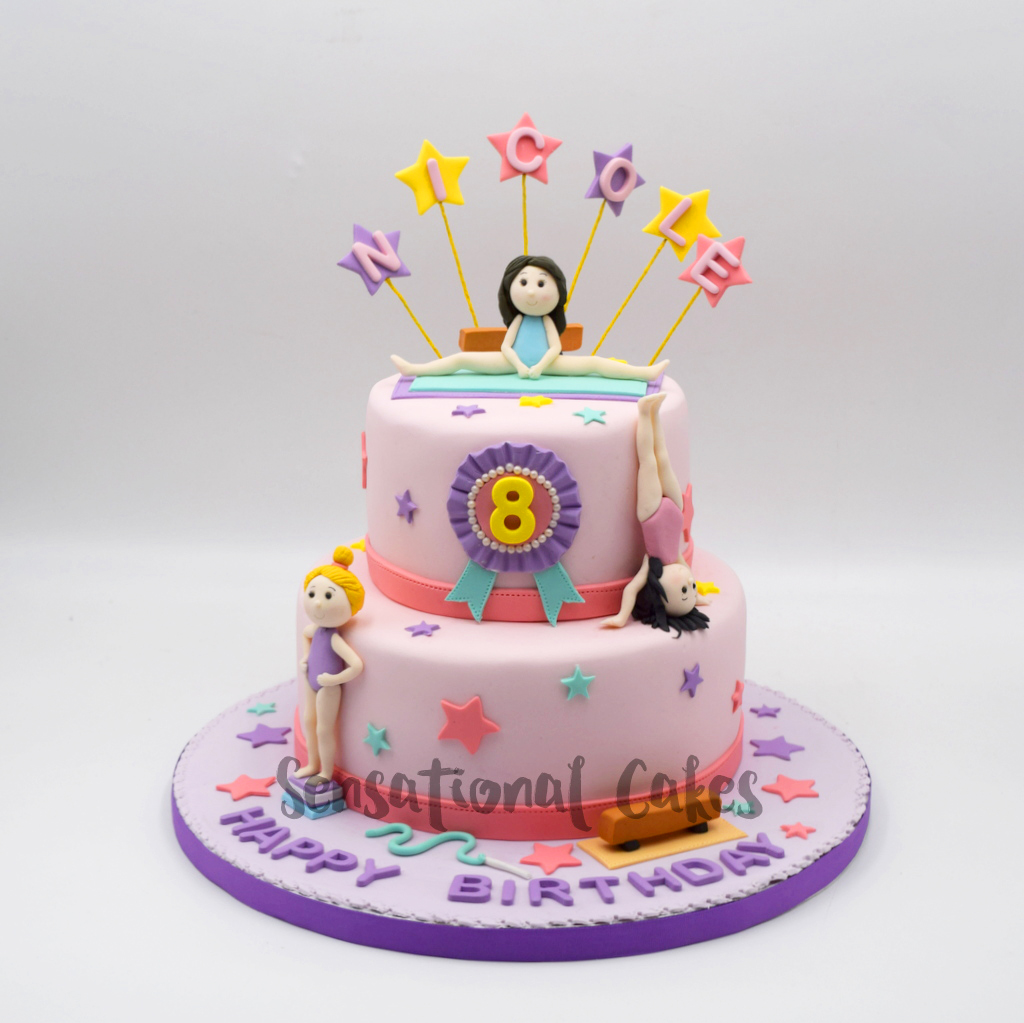 Gymnast Trophy 3d Figurine Purple Pink Girl Birthday Theme Cake Singapore Gymnasticcake