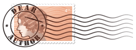 Image description: the Dear Author logo. It's a postage stamp with the illustration of a woman's profile and a round seal on top that reads Dear Author.