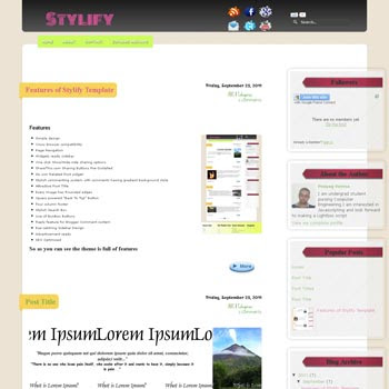Stylify blogger template. free blogspot template elegant style