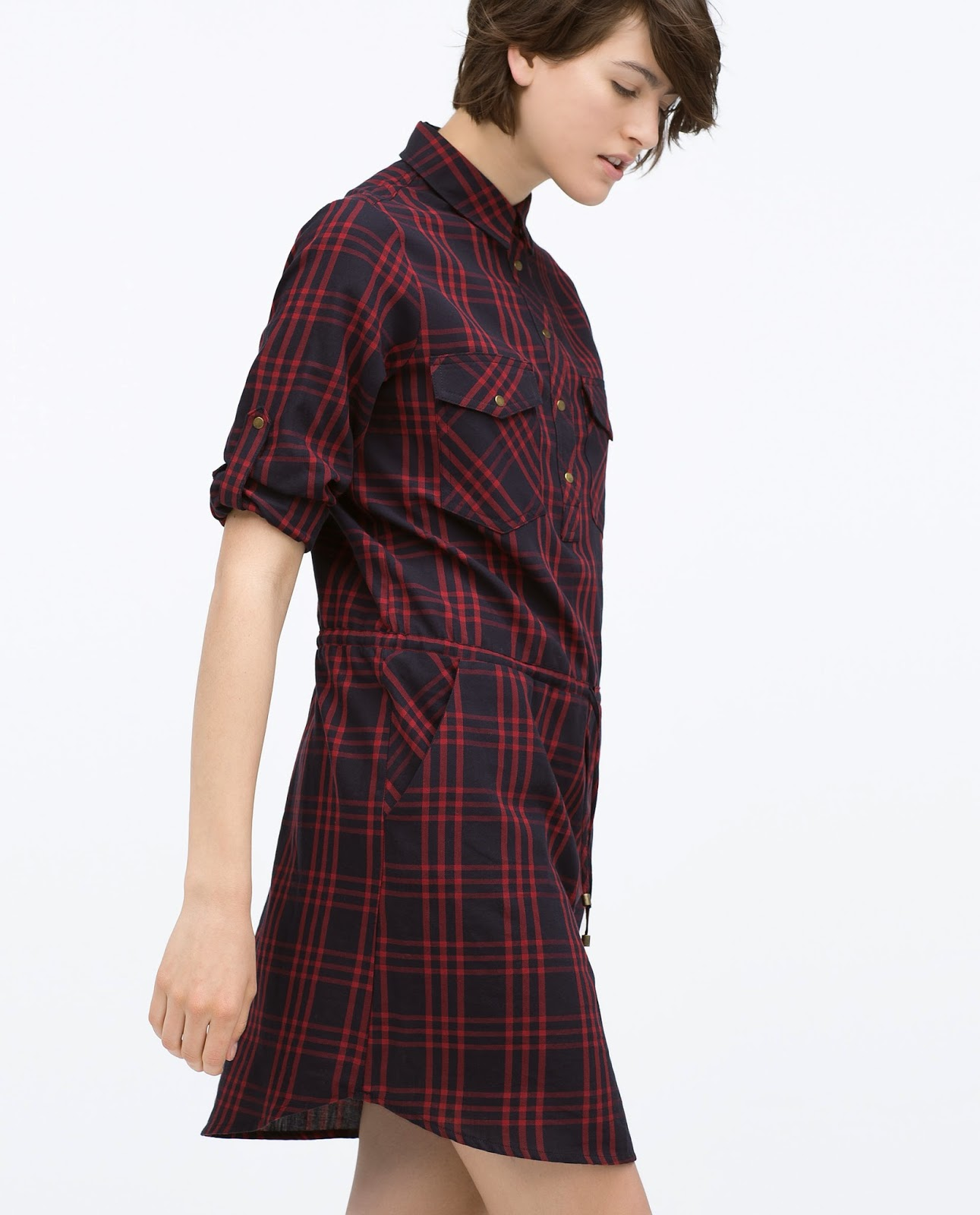 zara checked dress