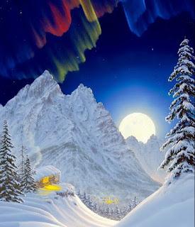 Paisajes Pintados con la Luna de Fondo