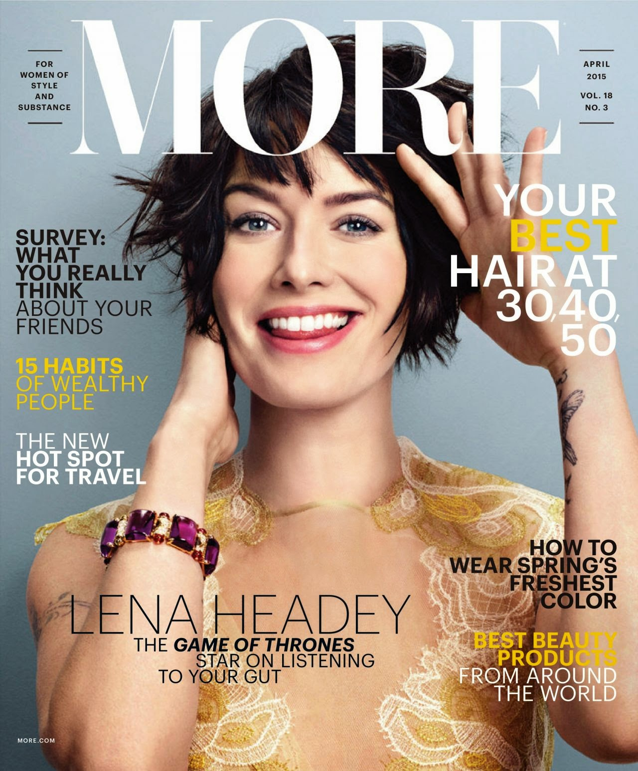 Actress @ Lena Headey - More Magazine, April 2015