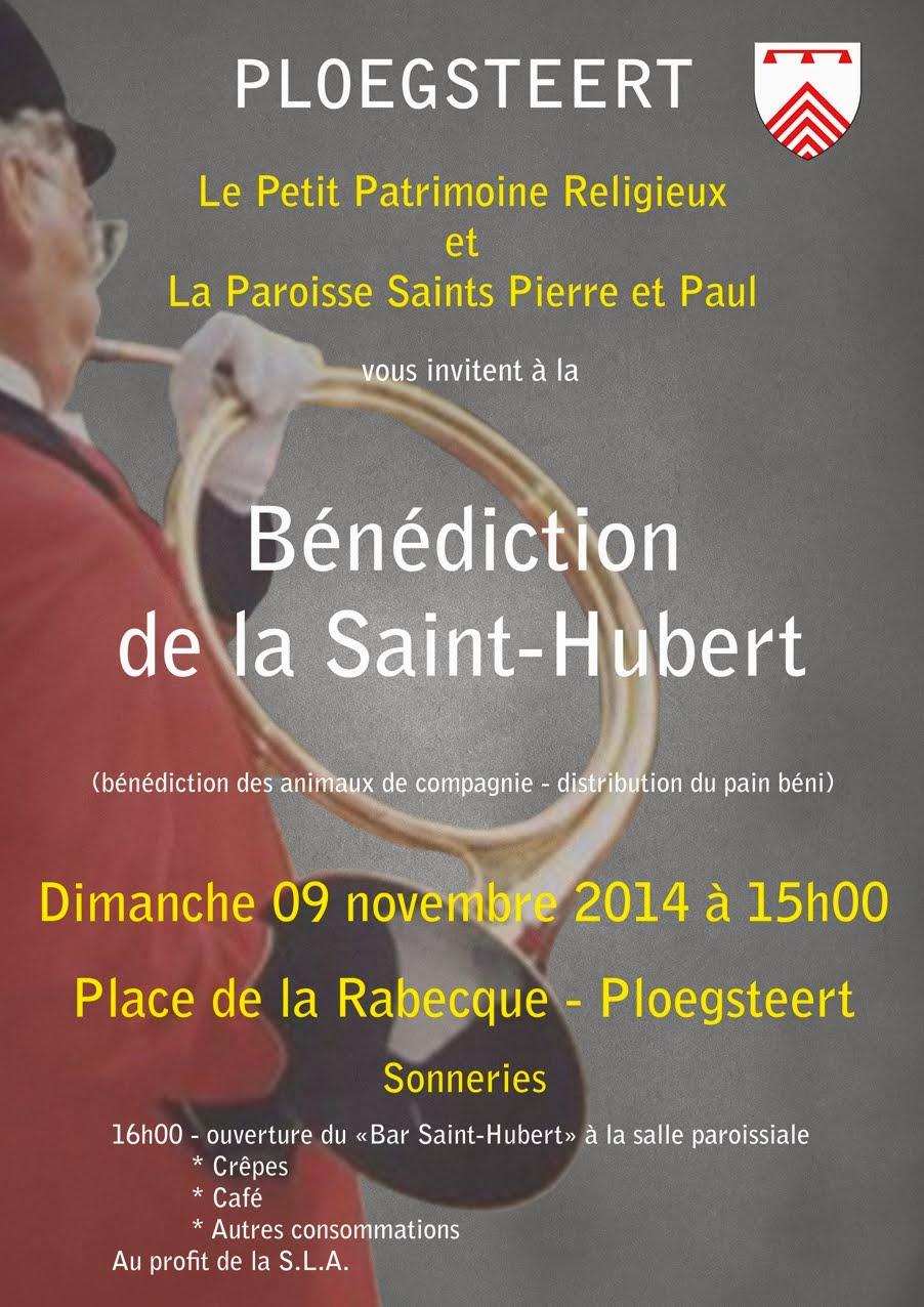 9 Novembre Bénédiction de la Saint-Hubert  à 15 heures.